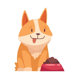 Cartoon pet with cute dog and his bowl with food