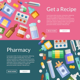 Cartoon pharmacy or medicines horizontal banner poster templates
