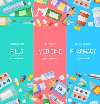 Cartoon pharmacy or medicines vertical banner templates.