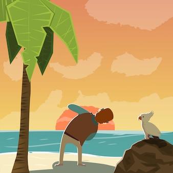 Cartoon photographer character on beach