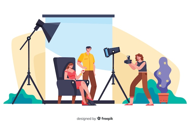 Cartoon photographers working with models