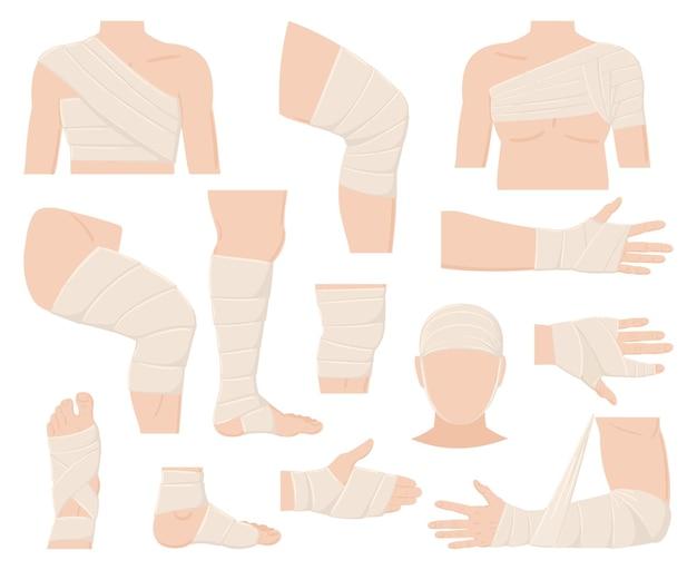 Мультфильм физические травмы частей тела в наложении повязки. перевязанные части человеческого тела, защищенные раны, переломы и порезы векторные иллюстрации установлены. бинты медицинские. повязка на перелом и гипс