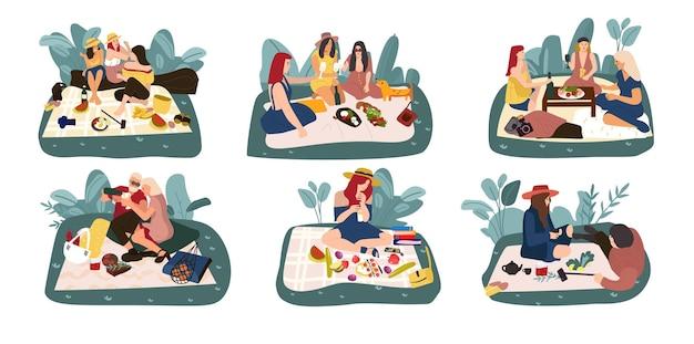 漫画のピクニック。夏のレクリエーション活動、屋外での食事、時間を過ごすことで幸せなキャラクター。ベクトルイラストの親戚や友人は自然に食べ物を食べる