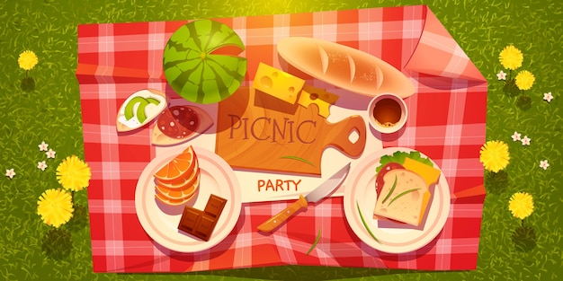 Cartoon picnic party background