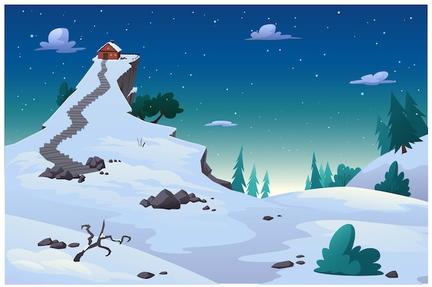 Cartoon pictures of the atmosphere in winter with snow covered.