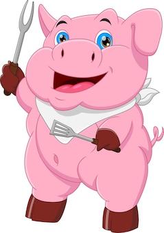 Cartoon pig chef holding fork and stir fry fork