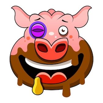 穴から出てくる漫画の豚。シンプルなグラデーションのベクトルクリップアートイラスト。