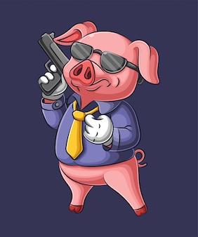 マフィアの服で銃を保持している漫画のブタ