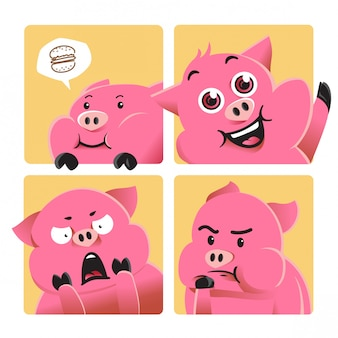 Cartoon pig illustration with various expression