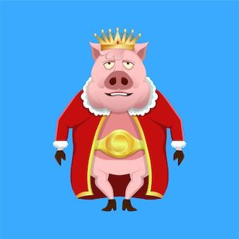 王の服と王冠を身に着けている漫画の豚王