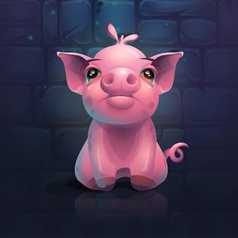 レンガの壁の背景に漫画の豚