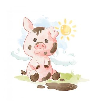 진흙 그림에서 노는 만화 돼지