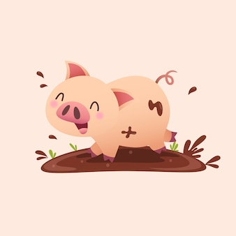 진흙에서 노는 만화 돼지.
