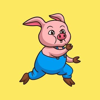 노란색에서 실행되는 만화 돼지