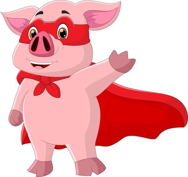 白い背景で隔離のスーパーヒーローの衣装を着て漫画の豚