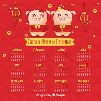 Cartoon pigs chinese new year calendar