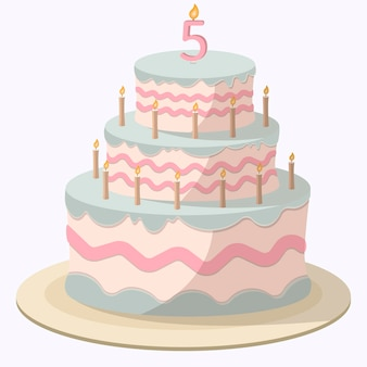 Cartoon pink-blue cake with candles and white mastic, cream decorations, and candy beads.