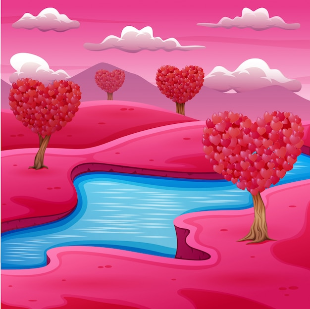 Cartoon pink field landscape with a river