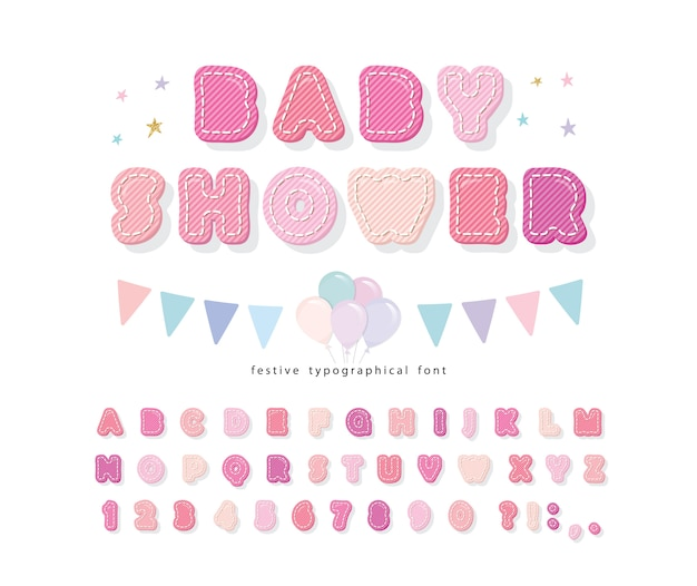 Cartoon pink font baby shower