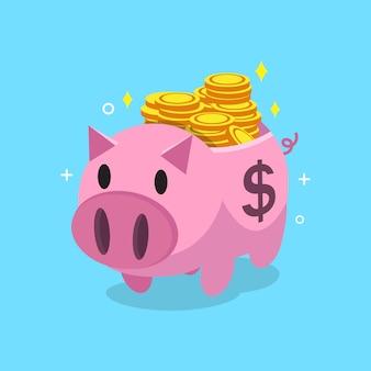 Cartoon pink piggy bank with money coins