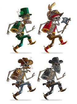 Cartoon pirate bandit and leprechaun skeletons set