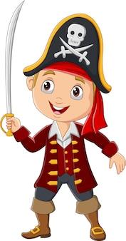 Мультяшный пиратский мальчик с мечом