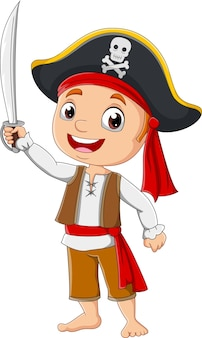 剣を持った漫画の海賊少年