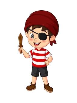 Cartoon pirate boy holding wooden sword