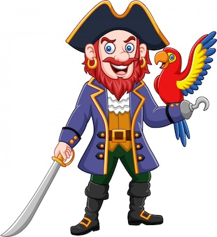 Cartoon pirate captain and macaw bird