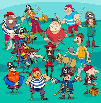 Cartoon pirate characters group