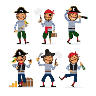 Cartoon pirate characters with pistol and rum and parrot