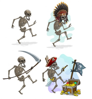 Cartoon pirate indian chief and death skeletons
