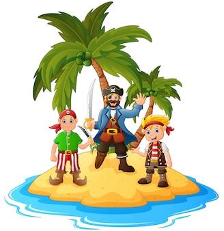 Cartoon pirate in the island