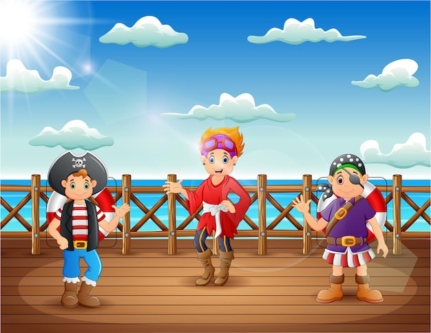Cartoon pirate man and woman on a decks of a ship