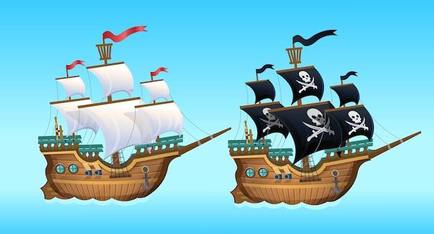 漫画。海賊船、帆船。