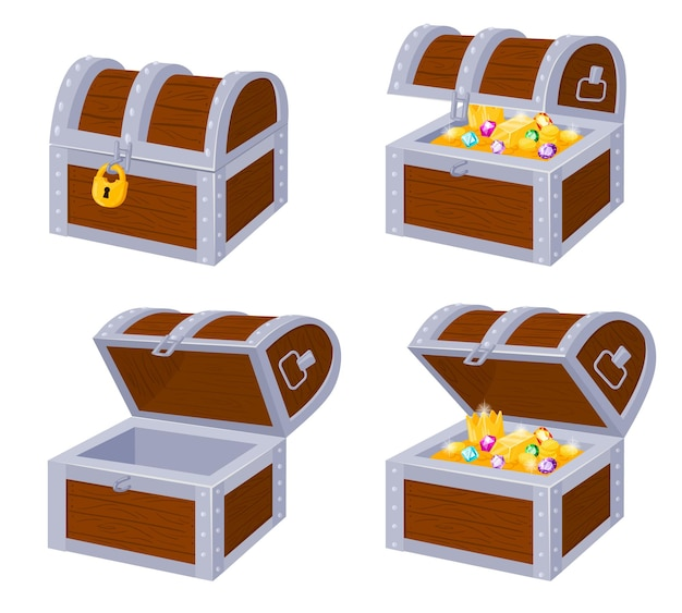 Cartoon pirate wooden chests with gold treasure, open and close. wooden pirate trunks full golden treasures, locked and empty vector illustration set. pirate trunk chests