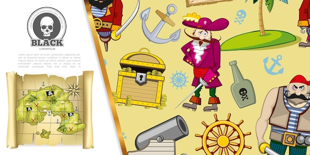 Cartoon pirates adventure concept with chest of gold coins treasure map bottle of rum ship anchor cannon steering wheel uninhabited island   illustration