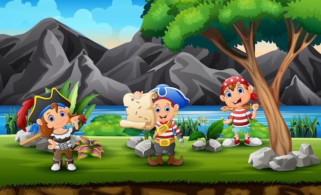 Cartoon pirates children looking for treasure