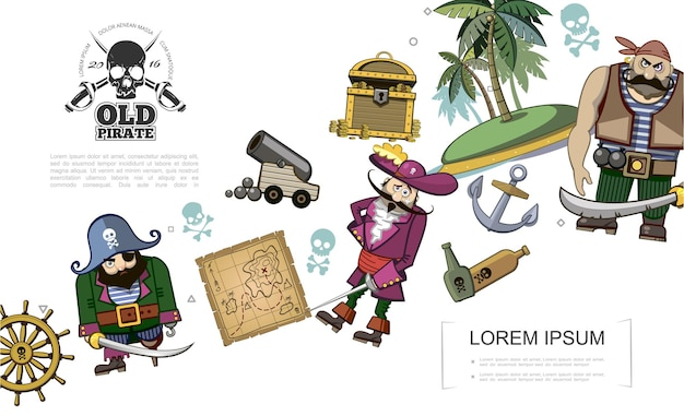 Cartoon pirates concept with steering wheel treasure chest anchor map pirate characters cannon uninhabited island bottles of rum   illustration