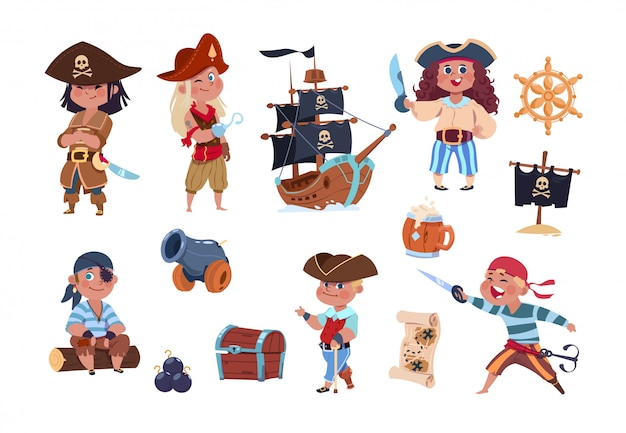 Cartoon pirates funny pirate captain and sailor characters, ship treasure map collection