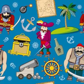 Cartoon pirates seamless pattern. anchor and palm, hook and treasure, steering wheel and bomb