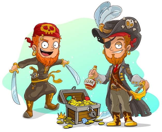 Cartoon pirates with rum and treasure chest