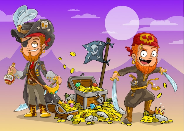 Cartoon pirates with rum and treasure chests