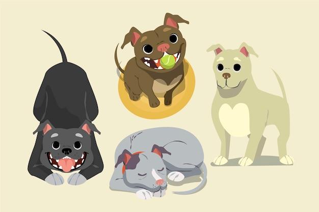 Коллекция мультяшных щенков питбуля