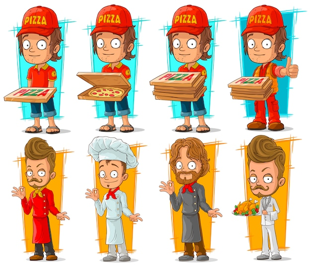 Cartoon pizza delivery boy and chef character set