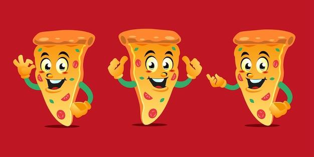 漫画のピザのマスコットのデザイン