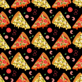 Cartoon pizza slices and ingredients food seamless pattern background
