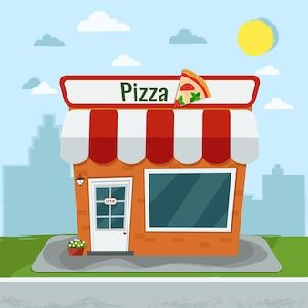 Мультяшная пиццерия. плоский.