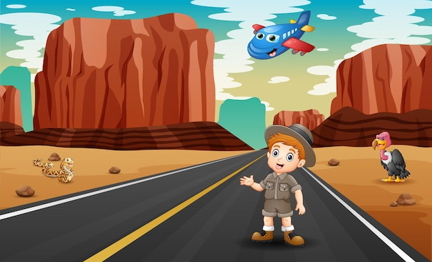 Cartoon plane and a boy in the desert road illustration