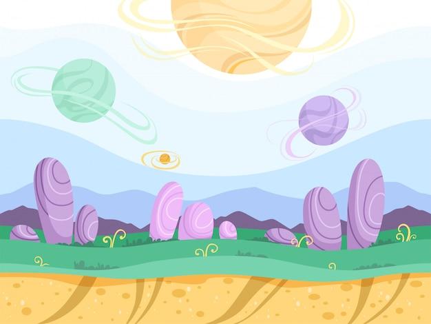 Cartoon planet surface illustration